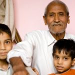 Indian Grandfather with his two Grandsons